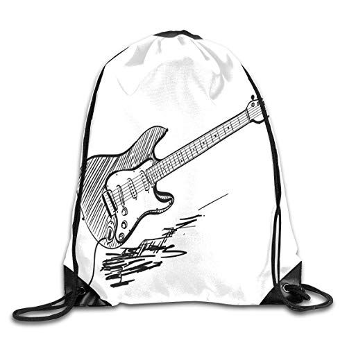 PPOOia Drawstring Backpacks Bags Daypacks,Hand Drawn Style Electric Guitar On White Backdrop Rock Music Accords Sketch Art,5 Liter Capacity Adjustable for Sport Gym Traveling -
