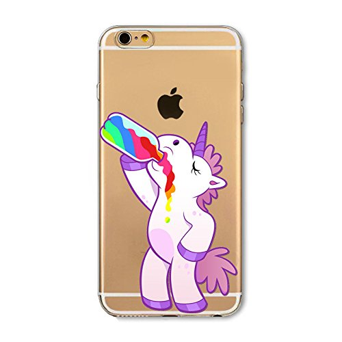 Coque Iphone 5C Rigide transparent , licorne fun , flamant , cactus , fantome , love , Licorne arc en ciel folle Licorne bouteille