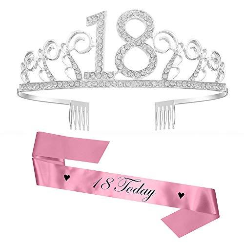 Feliz Cumpleaños 18TH, Diealles 18tth Plata Cristal Tiara Corona de Cumpleaños, Banda de Satén Brillante 18 Today, Regalo de 18 Cumpleaños