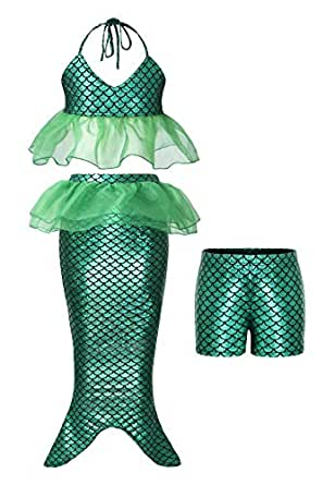 3d64ef543fd2 AmzBarley Sirena Vestito Bambina Carnevale Costume Ariel Ragazze Festa  Compleanno Vestirsi Partito Principessa Set di Vestiti