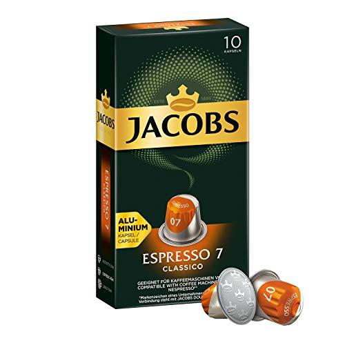 Jacobs Kaffeekapseln Espresso Classico, Intensität 7 von 12, 10 Nespresso®* kompatible Kapseln, 1 x 10 Getränke