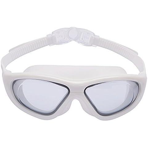 Bezzee-Pro Gafas de nado para adultos – nuevas gafas grandes - visión amplia - antiniebla – lentes transparentes anti-rotura – sin filtraciones – 100% protección UV – correa de silicona de alta calidad –estuche protector y tapones de oídos