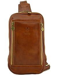 6948fa59b6 Borsello Monospalla In Vera Pelle Colore Cognac - Pelletteria Toscana Made  In Italy - Borsa Uomo