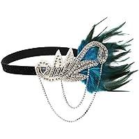 FENICAL Bnada de Pelo Elástica con Pluma Diamantes Vintage Retro para Novio Mujeres (azul)