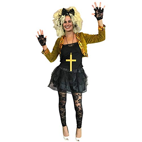 Best Priced 80s Wild Child Madonna Costume. 6 pcs with Top, Jacket, Gloves, Leggings, Tutu & Headband