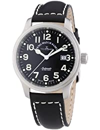 Zeno Watch Basel Pilot New Classic 9554-a1 - Reloj de caballero automático, correa de piel color negro