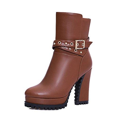Damen Reißverschluss Hoher Absatz Rein Wasserdicht Plattform Stiefel, Schwarz, 33 VogueZone009