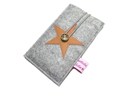 Handyhülle Handytasche Smartphonehülle Star Merino Wollfilz Filz + Leder Farbwahl, wird in hochwertiger Handarbeit für dein Handy angefertigt Nexus Star