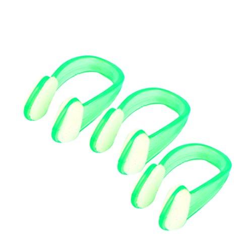 sourcingmap® Grün Klar Gummi Tauchen, Schwimmen Schwimmen Nasenklammer Schutz 3 Stück de