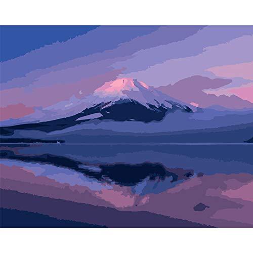 FULLLUCKY Malen Nach Zahlen Erwachsene,Malen Nach Zahlen DIY 40x50cm Schöne Mt Fuji Japan Landschaft Leinwand Hochzeit Dekoration Kunst Bild Geschenk, Rahmen
