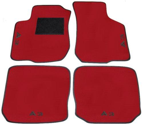 A3 8L von 1996 bis 2003 FuàŸmatten für Auto rote mit Rand schwarz und Einstiegsleisten Schwarz, Komplettset-Gummimatten passgenau mit Stickerei schwarz