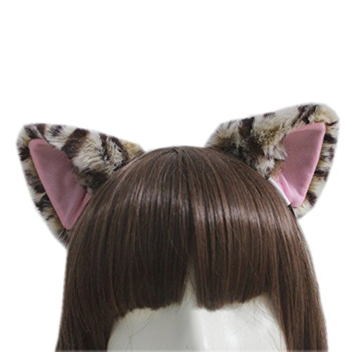 E-TING Katze Fox Lange Fellohren Anime Cosplay Stirnband Halloween Cosplay Party Kostüm (Leopard mit Rosa innen) (Easy-kostüme Für Einzigartige Halloween)