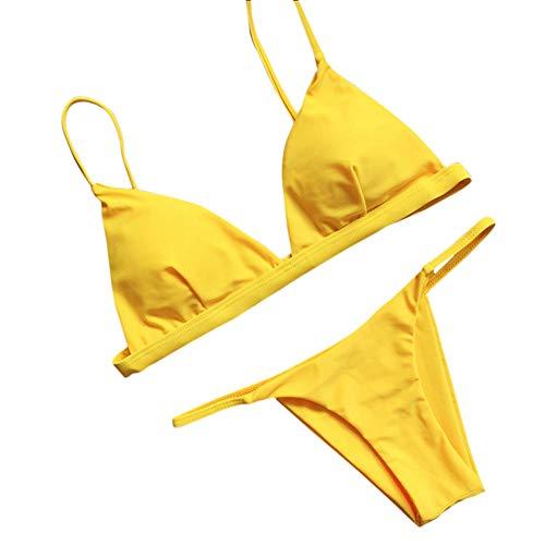 Xmiral Bikini Set Damen Push-Up Gepolsterter BH Einfarbig Strandbadeanzug Bademode Rückenfrei Reizvolle Zweiteiler(M,Gelb)