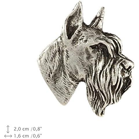 Schnauzer ritagliata testa, segno distintivo in argento 925, spilla del cane, in edizione limitata, ArtDog