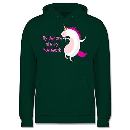 Comic Shirts - My unicorn ate my homework - Männer Premium Kapuzenpullover / Hoodie Dunkelgrün