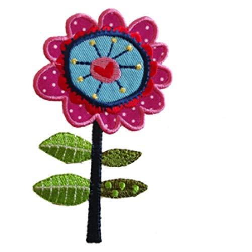 TrickyBoo 2 Aufbügler Blume Stiel 7X11cm Indianer 5X9cm Set Aufnäher Flicken Applikationen zum...