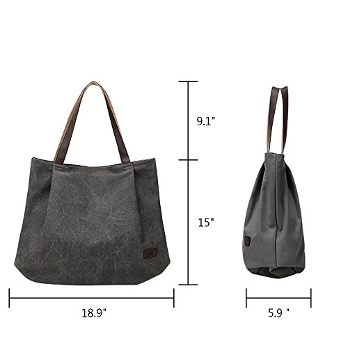 Groß Canvas Tote Tasche, Gindoly Vintage Durable Casual Unisex Handtasche Schultertasche für Shopping Travel School und Arbeit (Schwarz) Grau
