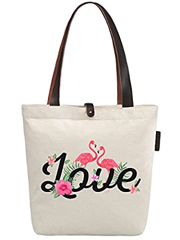 So'each Women's Love Flamingo Graphic Canvas Handbag Tote Shoulder Bag