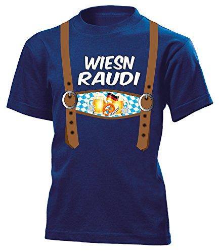 Kind In N Out Kostüm (LEDERHOSEN OPTIK - Wiesn Raudi 5842 Kinder T-Shirt (K-N))