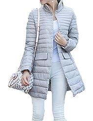 ZQQ Las señoras largo slim XL invierno moda ocio sueltos salvajes manga larga algodón abrigo , khaki , l