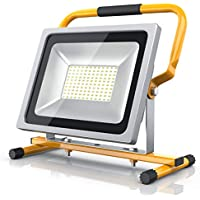 Brandson - Foco LED 50W para obras | Equivalente a 280W halógeno| 4800 lúmenes | Haz de luz de 120° | 6400K | Montaje en la pared o en un soporte | IP65 | amarillo
