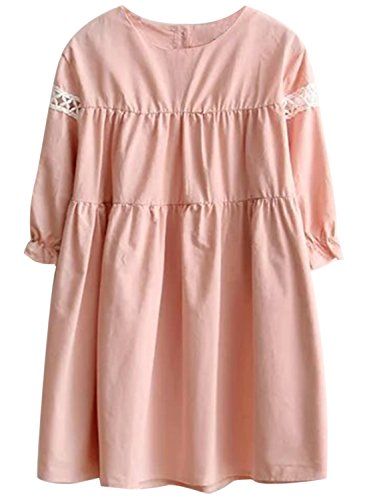 Azbro Women's Casual Half Sleeve Loose Fit Pullover Mini Dress pink