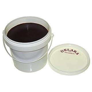 DELARA 500 ml hochwertiges Lederfett, Farbe: Braun, mit Schwamm zum Auftragen und Poliertuch, zur Pflege von Schuhen, Taschen, Reitsätteln und Möbeln aus Leder – Made in Germany