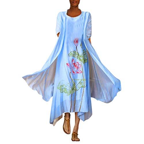 Veyikdg donna vestito 2019 nuovo stampato in the long sezione due set di etnico s tyle retro suit tempo liber gonna style donne abito casual loose dress