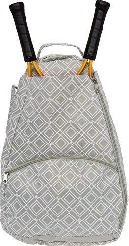 LISH Tennisschläger Rucksack–Frauen Geometrische Diamant Print Schläger, Halter Tasche, Damen, grau, Einheitsgröße