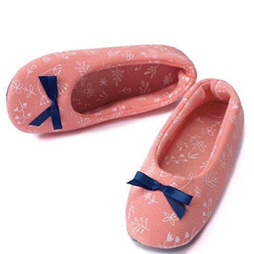TWINS Fashion - « Rio » - schöne & süße Damen Pantoffeln - leichte Baumwolle Ballerinas - gemütliche & rutschfeste Hausschuhe in diversen Farben und Ausführungen (36/37, Rosa)