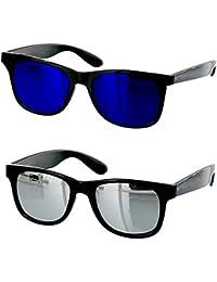 Younky Combo Of Uv Protected Branded Mercury Wayfarer Sunglasses For Men Women Boys & Girls ( Blue_Wayfarer-_Silver_Wayfarer ) - 2 Sunglass Case