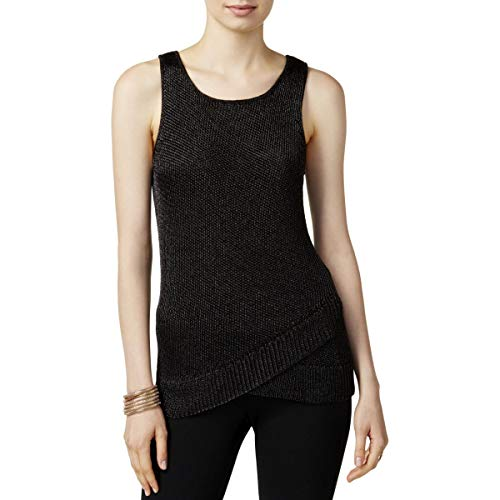 Bar III Womens Metallic Knit Tank Top Sweater -