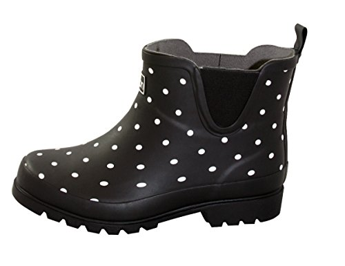 Jileon Black Spotted Ankle Height Rain Boots for Women - Wide in The Foot and Ankle - Not for Standard Width feet