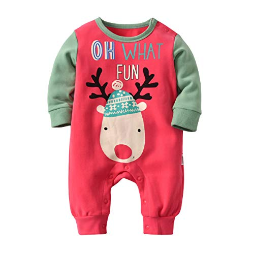 JIANGXI HONGJIUCHANG JIANZHUANZHUANGGONGCHENG YOUXIANGONGSI Gagacity Weihnachtskleidung Baby Strampler Unisex Neugeborene Overall Pyjamas Baumwolle für 0-24Monate