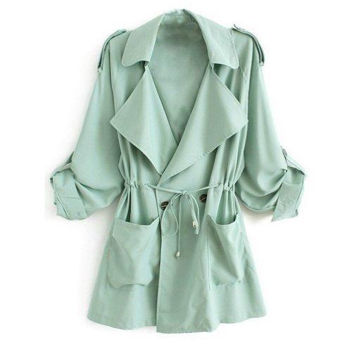 Minetom Cappotto Giacca Manica Lunga Fusciacca Trench Coat Donna ( Rosso EU L )