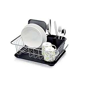 KitchenCraft Deluxe Dish Drainer with Drip Tray, Stainless Steel, Silver, 42 cm x 30.5 cm x 15.5 cm