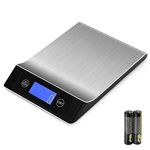 OTraki Food Kitchen Scale Digital Weight 15kg Maximalgewicht 1g Digitalwaage Küchenwaage LED Display Küchenwaagen Edelstahl Electronic Scales Batteriebetrieben Digitalwaagen Küche Diet Balance