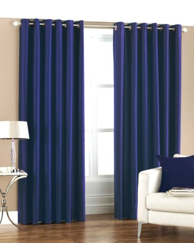 Homefab India's Set of 2 Royal Silky Navy Blue Long Door Curtains(HF049) 8X4ft.
