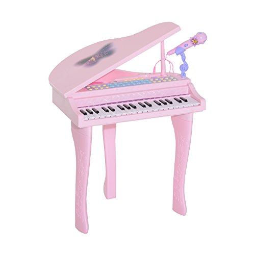 Piano à Queue électronique 37 Touches Multifonctions avec Micro Haut Parleur Rose