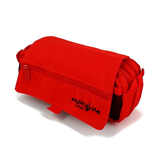 Grafoplás 37540351-Estuche juvenil triple Multiline color rojo