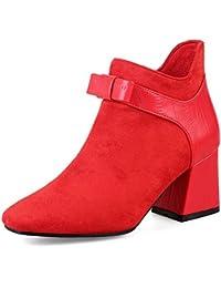 Botas de Tobillo para Mujer Zapatos de Invierno otoño Punta Cuadrada para Mujer Botas de tacón