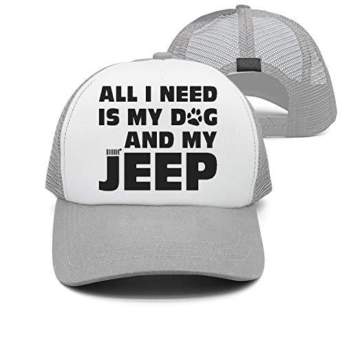 Preisvergleich Produktbild UYTGYUHIOJ All I Need is My Dog and My Jeep Washed Cap Cowboy Baseball Hat Natural