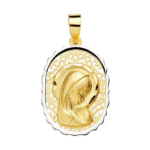 Iyé Biyé Medalla niña comunión Virgen niña 18 mm Oro Bicolor 18 ktes Calada. Grabado Incluido