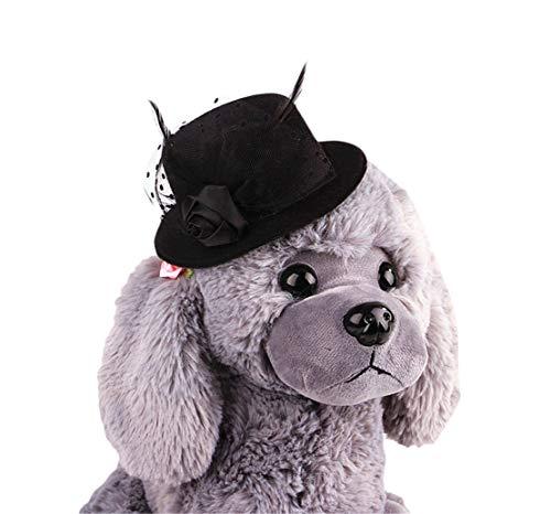 Tianba Haustier Europäischer Promi Hunde Hut Gentleman Katzen Kopfschmuck Hund Hat Tier Kopf Schmuck Weihnachts Dekorativer Hut Katzen Hunde Zubehörs (Schwarz Promi Kostüm)