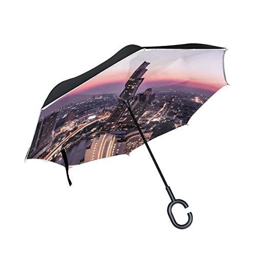 Schöne Stadt Nacht Szene Doppelschicht die Anti Uv Schutz wasserdicht winddichtes gerades Auto Golf umgekehrtes umgekehrtes Regenschirm Stand mit C förmigem Griff für den Auto Regen im Freien faltet