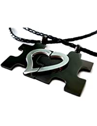 Area17 Gravur Edelstahl Partner Anhänger - Puzzle - (2er Set inklusive Halsketten)