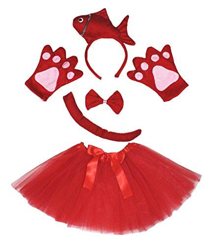 stüm Stirnband Schleife Schwanz Handschuhe rot Tutu Set für Lady Gr. One Size, rot (Fisch Stirnband Kostüm)