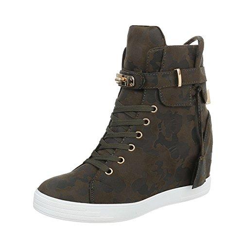 Ital-Design Sneakers High Damen-Schuhe Keilabsatz/Wedge Keilabsatz Schnürsenkel Freizeitschuhe Khaki, Gr 38, Ls3002-