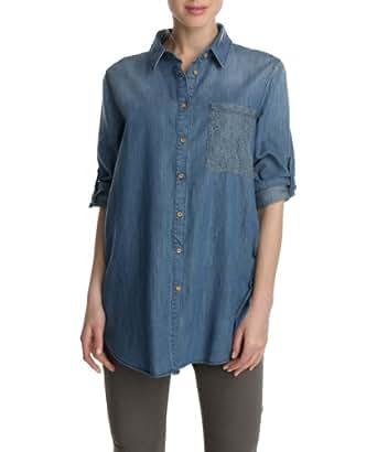 ESPRIT Damen Bluse 123EJ1F019, Gr. 42 (XL), Blau (552 E FADED BLUE)