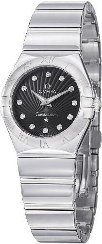 Omega constelación diamante negro Dial acero inoxidable acero Damas Reloj 123.10.27.60.51.002por Omega
